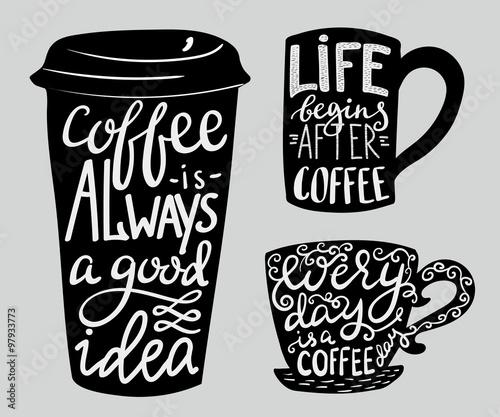 Fotografía  Lettering on coffee cup shape set