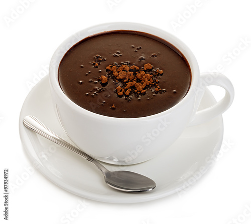 Foto op Canvas Chocolade Hot chocolate close-up isolated on a white background.