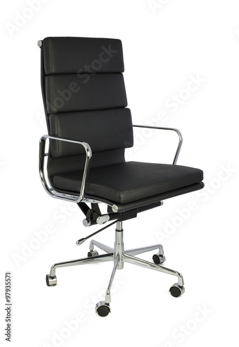 Fotografie, Obraz  Black Office Chair on White Background