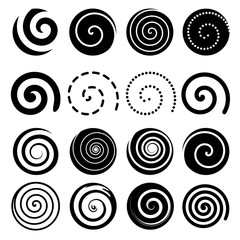 Set of spiral motion elements, black isolated objects, vectors