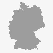 Map Of The Germany In Gray On A White Background