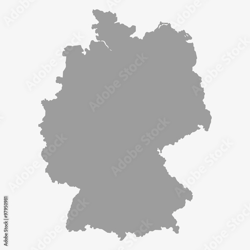 Photo Map of the Germany in gray on a white background