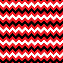Zigzag Seamless Pattern - Abstract Geometric Texture In White, Black And Red Color. Fashion Graphics. Graphic Style For Wallpaper, In Textiles, For Book Design, Website, And Other Print Production.