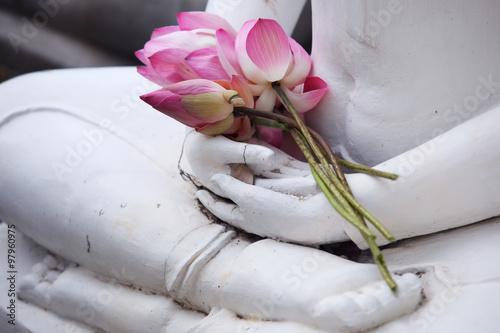 Tuinposter Boeddha lotus flower on buddha image