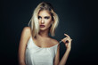 Leinwanddruck Bild - Beauty portrait of a young blonde woman