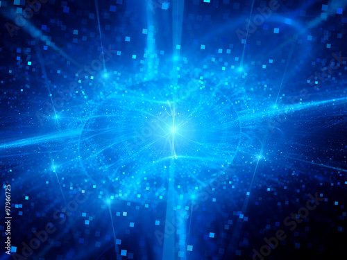 Poster  Blue glowing gravitational force field with particles