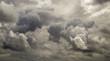 Leinwandbild Motiv Dark ominous grey storm clouds. Dramatic sky in Patagonia