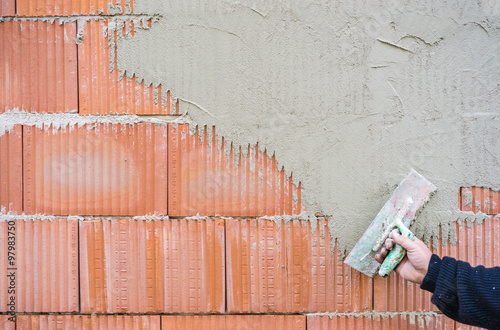 Ziegel Mauer Wand Verputzen Buy This Stock Photo And Explore