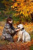 Fototapeta Zwierzęta - autumn walk with pet