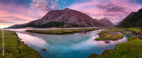 plakat Panorama of beautiful lake in mountain valley