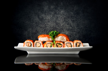 Fototapeta Sushi Sushi and rolls in plate