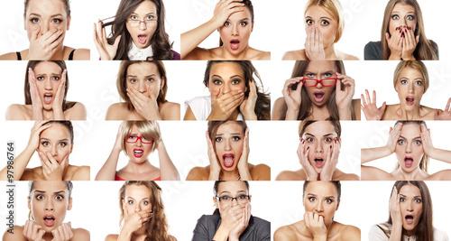 Fotografie, Obraz  collage of portraits of various women. concept shock