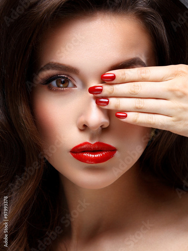 Plakát  Red Sexy Lips and Nails closeup