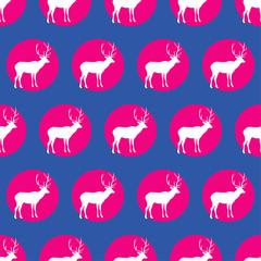 Fototapeta Seamless vector background with decorative reindeer in the style of Pop Art