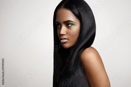 black latin woman with a straight hair