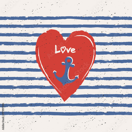 Fotografía  greeting card with heart and anchor in maritime design