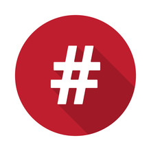 Flat Hashtag Icon With Long Shadow On Red Circle