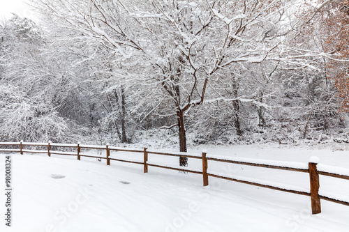 Fotobehang Wit Snow Covered Winter Landscape