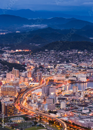 Foto op Canvas Seoel Sasebo cityscape at night, Nagasaki, Japan