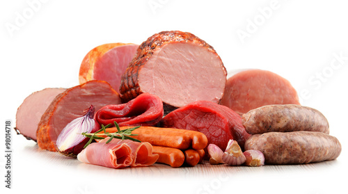 Tuinposter Vlees Meat products including ham and sausages isolated on white