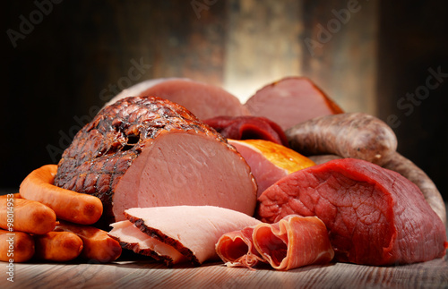plakat Meat products including ham and sausages