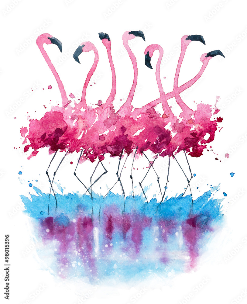 Fototapety, obrazy: Flamingi akwarela