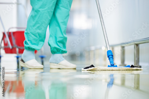 Fotografie, Obraz  worker cleaning floor with mop