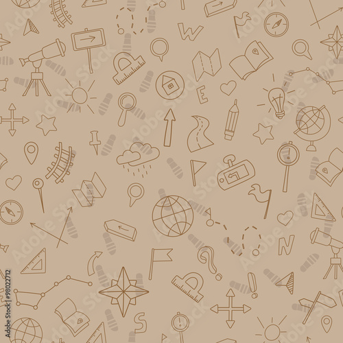 Fotografia  Seamless pattern with hand drawn signs on the theme of geography and travel, sep