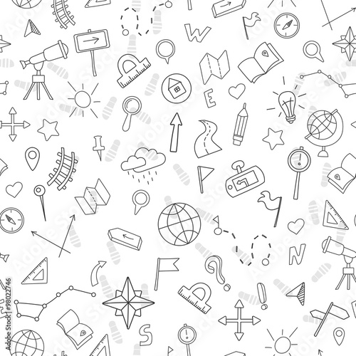 Fotografia  Seamless pattern with hand drawn signs on the theme of geography and travel, bla