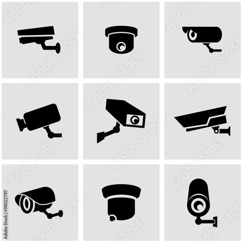 Obraz Vector black security camera icon set. Security Camera Icon Object, Security Camera Icon Picture, Security Camera Icon Image - stock vector - fototapety do salonu