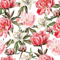 Panel Szklany Podświetlane Peonie Watercolor pattern with flowers, peonies and lilies, buds and petals.