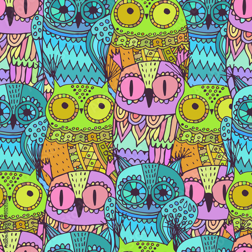 Poster Hibou Vector seamless pattern with cute owls