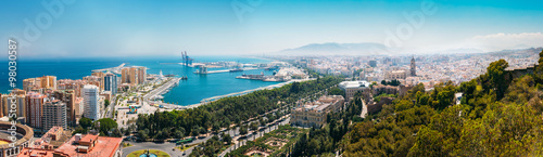 Panorama cityscape aerial view of Malaga, Spain Canvas Print
