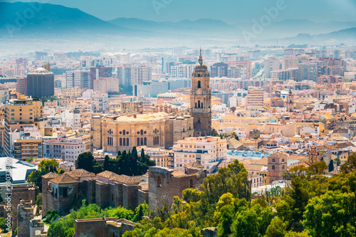 Cityscape aerial view of Malaga, Spain Wallpaper Mural