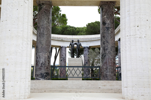 NETTUNO - April 06: Bronze statue of two brothers in arms of the Canvas Print