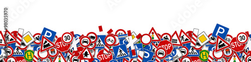 Foto background of many road signs