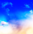 Leinwandbild Motiv Vertical vivid blue spectre cloudscape dramatic clouds backgroun