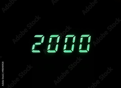 Poster Horizontal green digital 2000 millenium display clock memories b