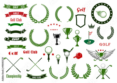 Fotografija  Golf and golfing sport elements or items