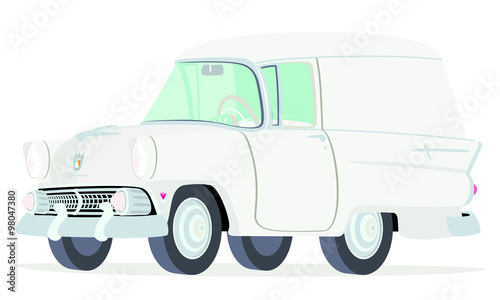 Caricatura Ford Courier Sedan Delivery 1955 blanca vista frontal y lateral