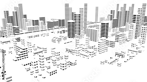 モノトーンの市街地の風景