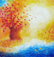 Painting. Autumn, Birds Fly Wi...
