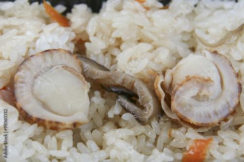 Photo  Hotate Gohan, Scallop rice, Japanese local food from Aomori