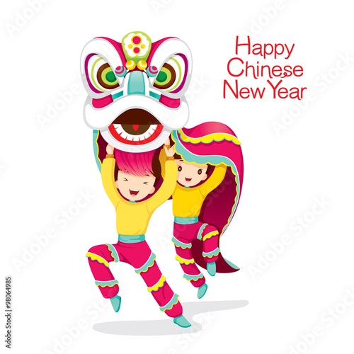 Fotografie, Tablou  Boys With Lion Dancing, Traditional Celebration, China, Happy Chinese New Year