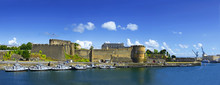 Harbor And Old Castle Of City Brest, Finistere, Brittany