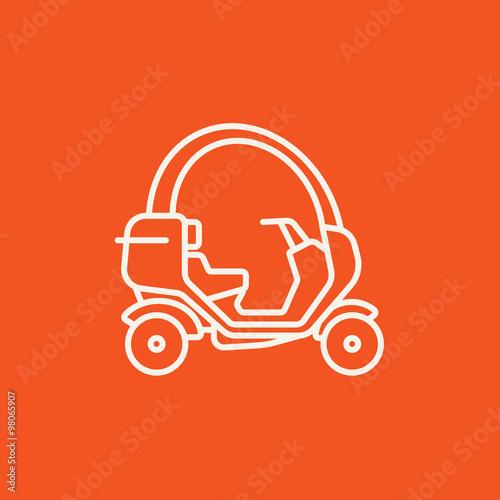 Fényképezés  Rickshaw line icon.