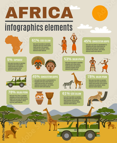 Africa Infographic Set Canvas Print