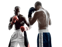 Men Boxers Boxing Isolated Sil...