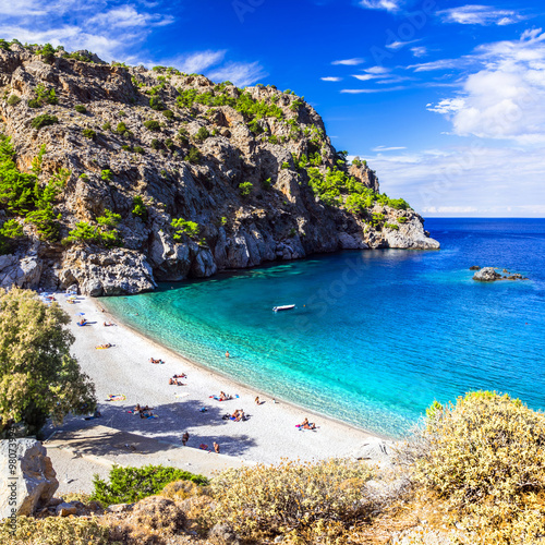 Poster Dark blue amazing beaches of Greek islands. Karpathos, Achata
