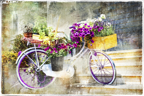 Aluminium Prints Bicycle charming streets decoration - floral bike, artwork in painting style